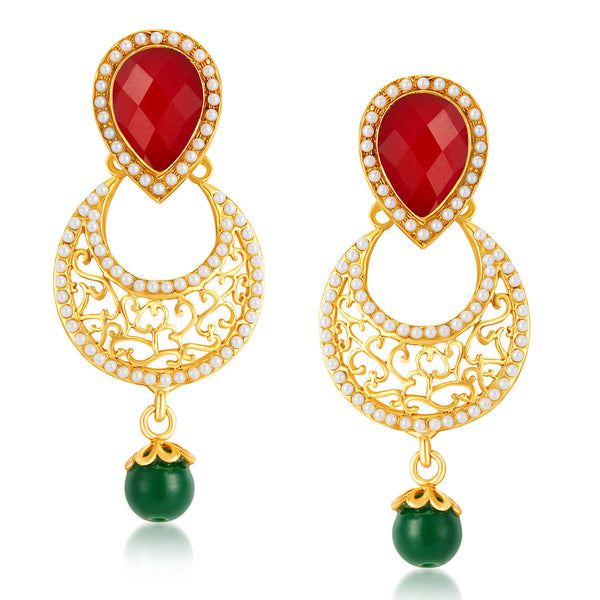 Sukkhi Glittery Gold Plated Australian Diamond Earrings