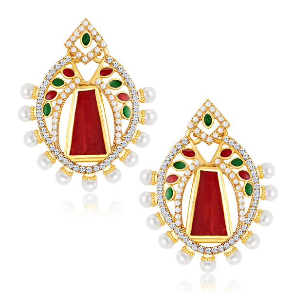 Sukkhi Glorious Gold Plated Australian Diamond Earrings