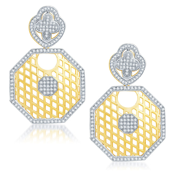 Pissara Lavish Gold and Rhodium Plated Cubic Zirconia Earrings