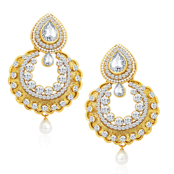 Sukkhi Gorgeous Gold Plated AD Earrings For Women