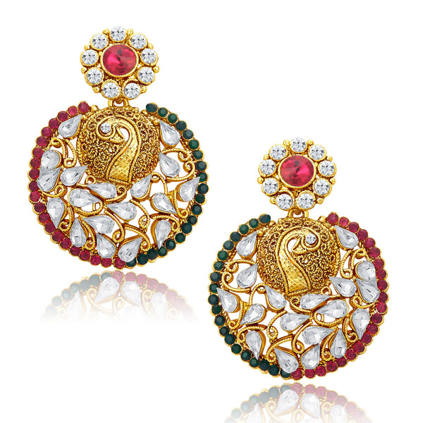 Sukkhi Sparkling pecock Gold Plated AD Earrings For Women