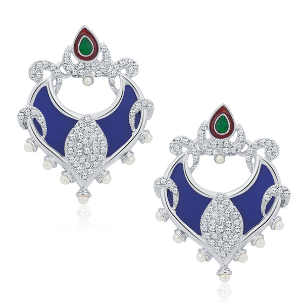 Sukkhi Exquisite Rhodium Plated AD Earrings For Women