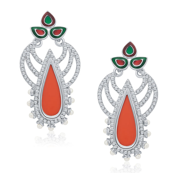Sukkhi Shimmering Rhodium Plated AD Earrings For Women