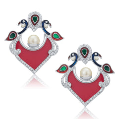 Sukkhi Astonishing pecock Rhodium Plated AD Earrings For Women