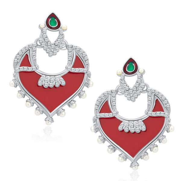 Sukkhi Divine Rhodium Plated AD Earrings For Women