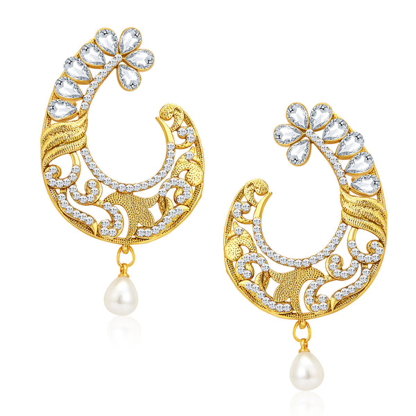 Sukkhi Designer Gold Plated AD Earrings For Women