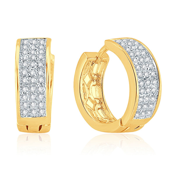 Pissara Attractive Gold Plated Micro Pave Setting CZ Earrings