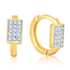 Pissara Stylish Gold Plated Micro Pave Setting CZ Earrings