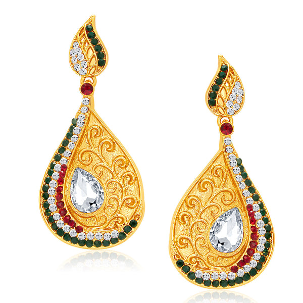 Sukkhi Eye-Catchy Gold Plated AD Earring For Women
