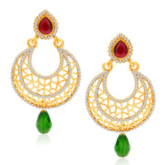 Sukkhi Ravishing Gold Plated AD Chandbali Earring For Women