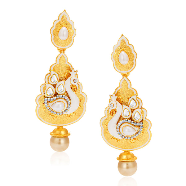 Sukkhi Pretty Peacock Gold Plated AD Earring For Women