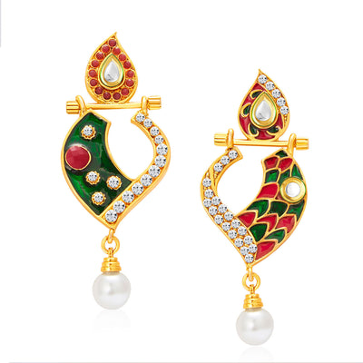 Sukkhi Fabulous Gold Plated AD Reversible Earring For Women