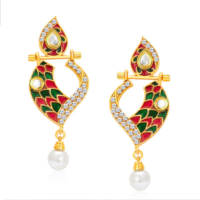 Sukkhi Fabulous Gold Plated AD Reversible Earring For Women-1