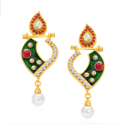 Sukkhi Fabulous Gold Plated AD Reversible Earring For Women-2