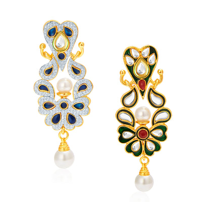 Sukkhi Graceful Gold Plated AD Reversible Earring For Women