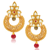 Sukkhi Dazzling Gold Plated Kundan Chandbali Earring For Women
