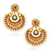 Sukkhi Glistening Gold Plated Chandbali Earring For Women