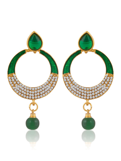 Sukkhi Designer Gold Plated AD Chandbali Earring For Women