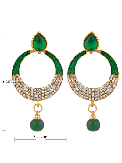 Sukkhi Designer Gold Plated AD Chandbali Earring For Women-1