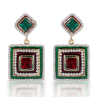 Sukkhi Alluring Meenakari Gold Plated AD Earring For Women