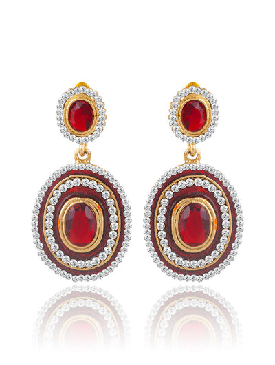 Sukkhi Exquitely Meenakari Gold Plated AD Earring For Women