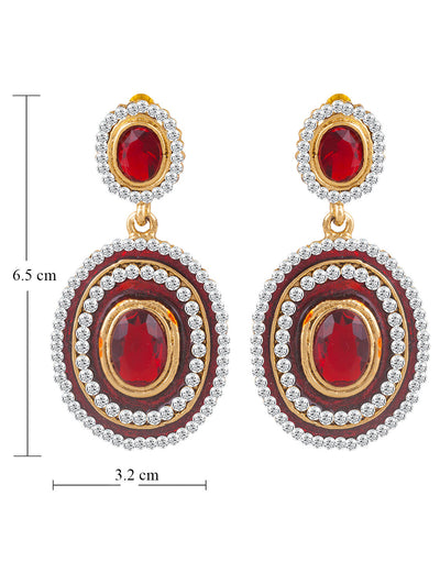 Sukkhi Exquitely Meenakari Gold Plated AD Earring For Women-1