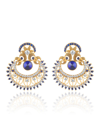 Sukkhi Pleasing Gold Plated AD Chandbali Earring For Women
