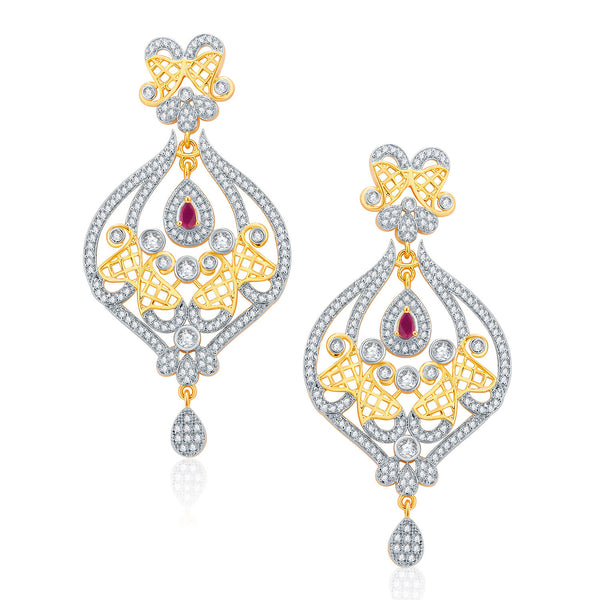 Pissara Glossy Gold And Rhodium Plated Ruby CZ Chandelier For Women