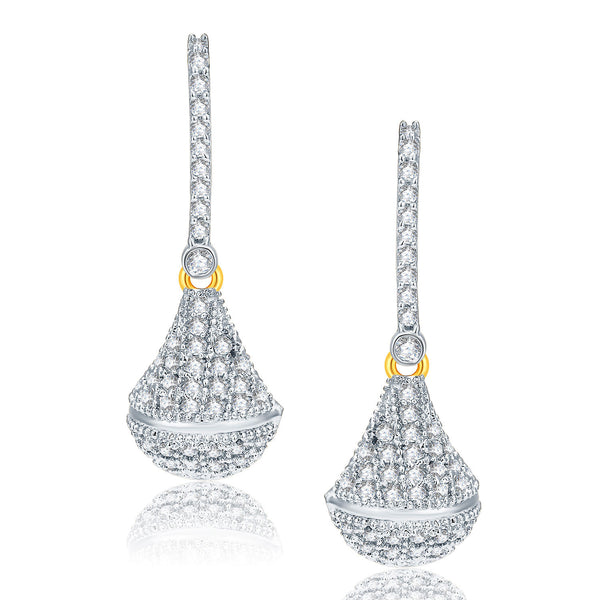 Pissara Winsome Gold And Rhodium Plated CZ Earrings For Women