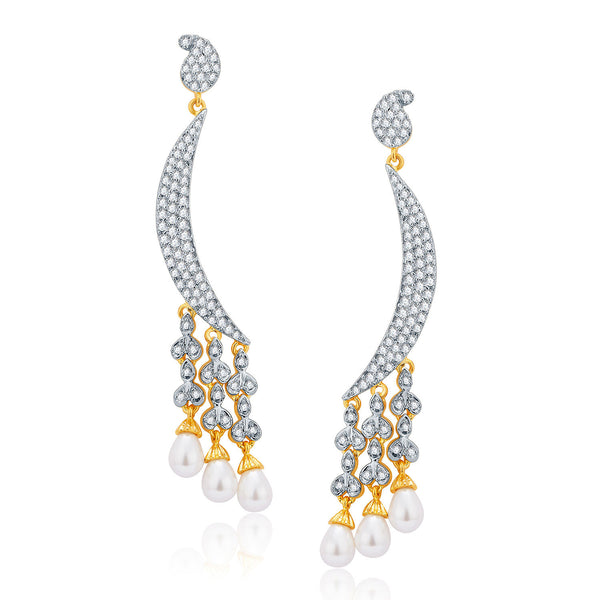 Pissara Mystifying Gold And Rhodium Plated CZ Earrings For Women