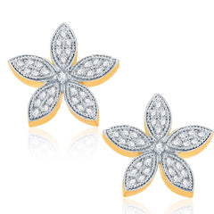 Pissara Graceful Gold And Rhodium Plated CZ Stud Earrings For Women