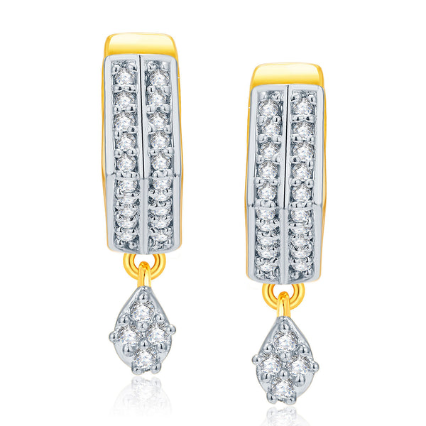 Pissara Marvellous Gold And Rhodium Plated CZ Earrings For Women