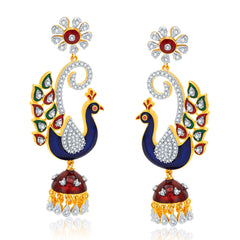 Pissara Mesmerizing Peacock Gold And Rhodium Plated CZ Earrings For Women