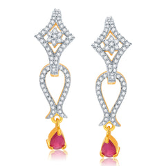 Pissara Alluring Gold And Rhodium Plated Ruby CZ Earrings For Women