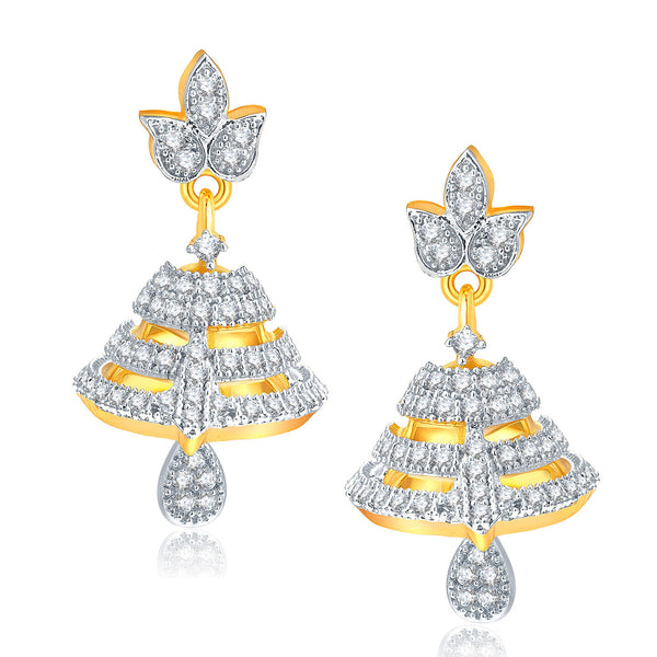 Pissara Pleasant Gold And Rhodium Plated CZ Jhumki For Women