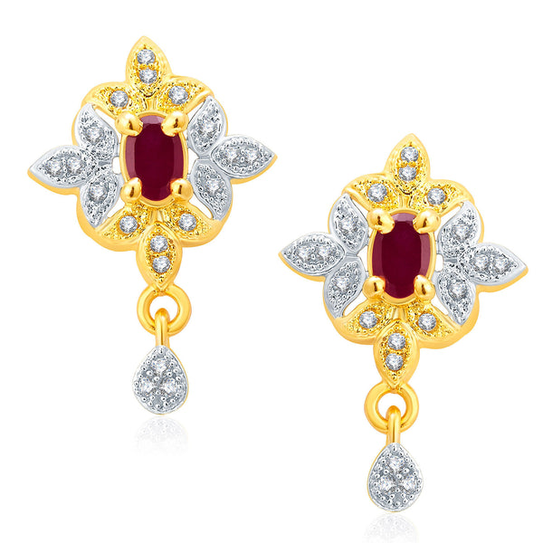 Pissara Glamarous Gold And Rhodium Plated Ruby CZ Earrings For Women