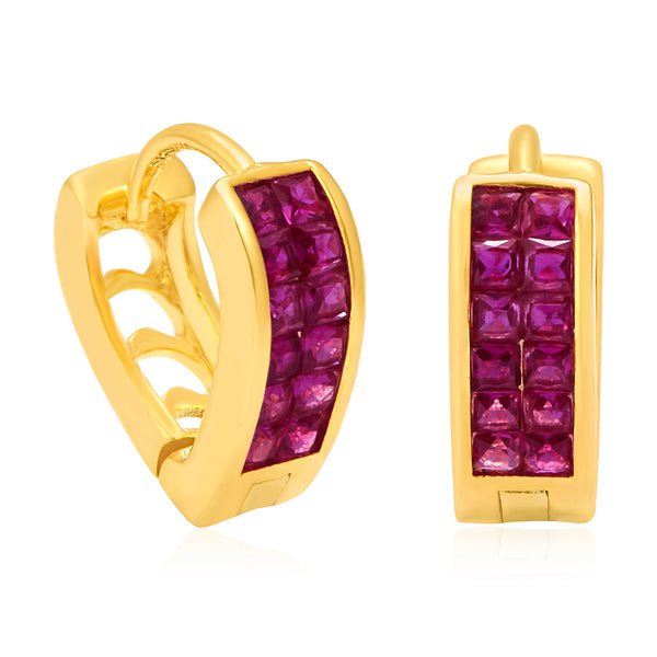 Pissara Luscious Gold Plated Ruby CZ Hoop Earrings For Women