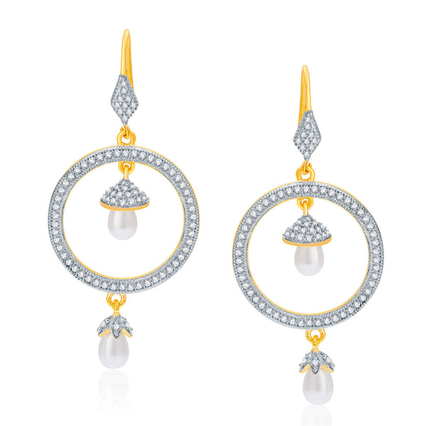 Pissara Fantasies Gold And Rhodium Plated CZ Earrings For Women