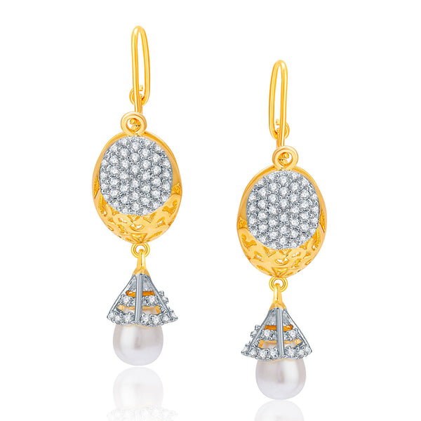 Pissara Pretty Gold And Rhodium Plated CZ Earrings For Women