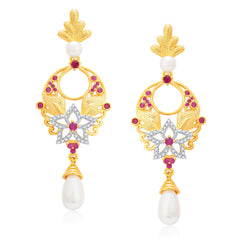 Pissara Chandelier Gold And Rhodium Plated Ruby CZ Earrings For Women