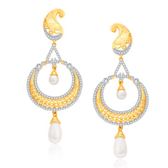 Pissara Pleasing Gold And Rhodium Plated CZ Earrings For Women