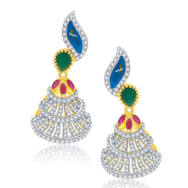 Pissara Burnished Gold And Rhodium Plated Ruby CZ Earrings For Women