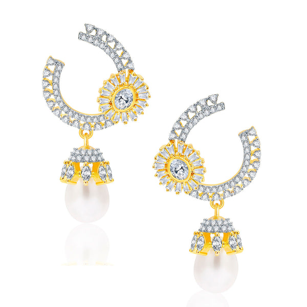 Pissara Bejeweled Gold And Rhodium Plated CZ Earrings For Women