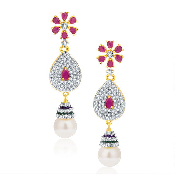 Pissara Exciting Gold And Rhodium Plated Ruby CZ Earrings For Women