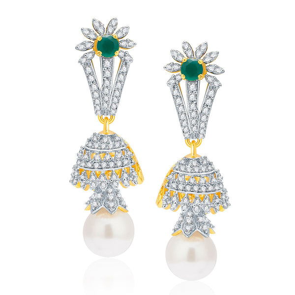 Pissara Distinctive Gold And Rhodium Plated Emerald CZ Earrings For Women