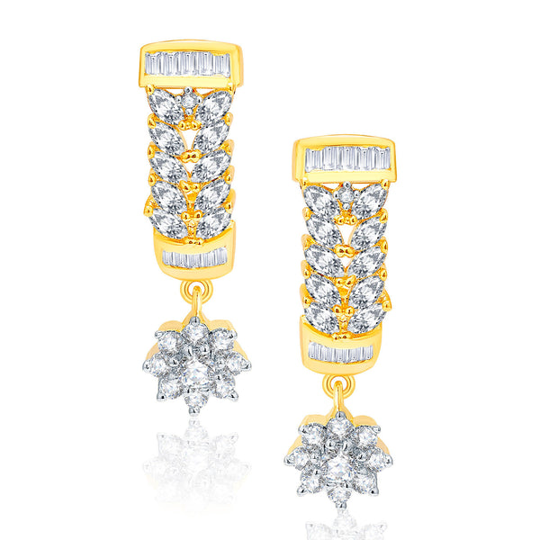 Pissara Exceptional Gold And Rhodium Plated CZ Earrings For Women