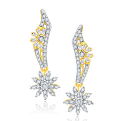 Pissara Whimsical Gold And Rhodium Plated CZ Earrings For Women