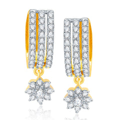 Pissara Splendid Gold And Rhodium Plated CZ Earrings For Women