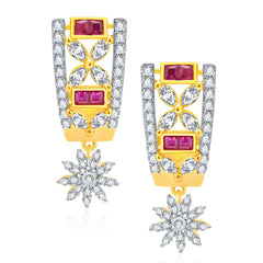 Pissara Wondrous Gold And Rhodium Plated Ruby CZ Earrings For Women