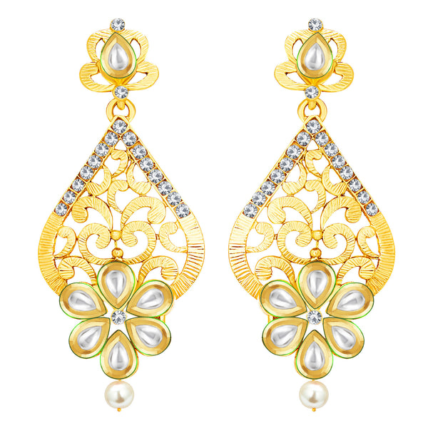 Sukkhi Sparkling Gold Plated Kundan Earring For Women